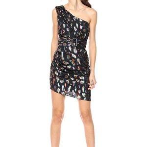 Guess xs one shoulder inari mini dress metallic